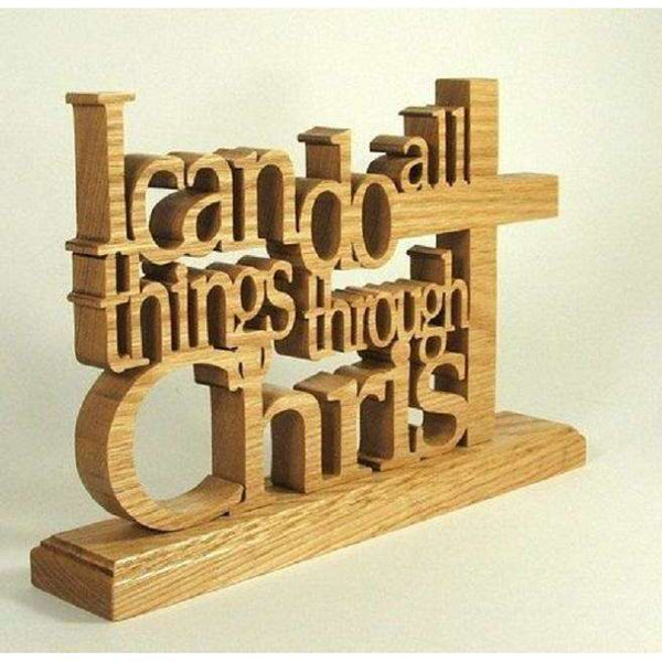 Hand Crafted Philippians 4:13 Table Top Accent Piece, Wooden Table Top Decor,In God's Service Store