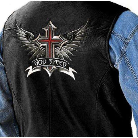 "Inspirational ""God Speed"" Winged Cross Biker Patches, Embroidered Patches,In God's Service Store"