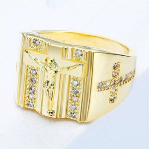 Jesus Cross Cubic Zirconia Ring, Rings,In God's Service Store
