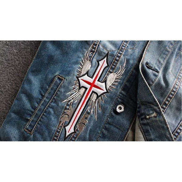 Men's Blue Denim God Speed Biker Vest, Denim Biker Vest,In God's Service Store