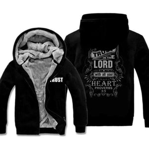 "Proverbs 3:5 ""Trust"" Hooded Sweatshirt Design Jackets, Christian Print Fleece Jackets,In God's Service Store"