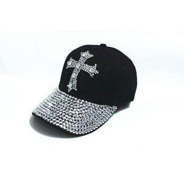 Rhinestone Studded Christian Cross Baseball Caps, Christian Baseball Caps,In God's Service Store