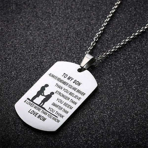 "Sentimental ""To My Son"" Dog Tag Keepsake Necklace, Mom to Son Necklaces,In God's Service Store"