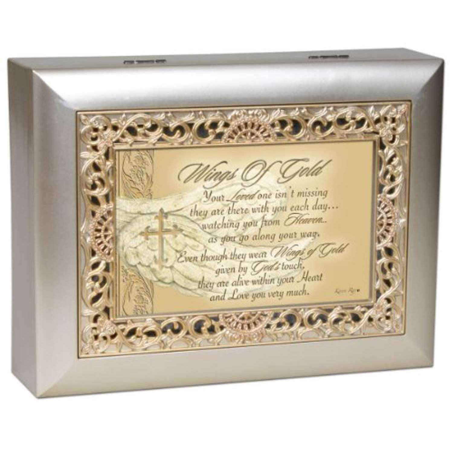 Wings of Gold Remembrance Musical Jewelry Box, Musical Jewelry Boxes,In God's Service Store
