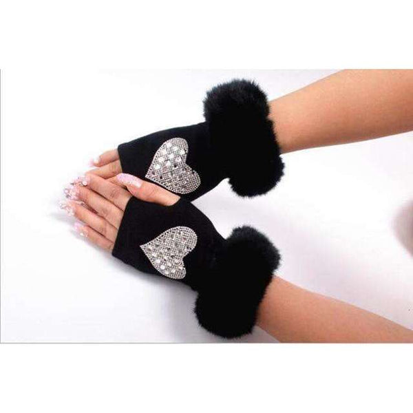 Women's Fluff Cuff Fingerless Gloves, Fingerless Gloves,In God's Service Store