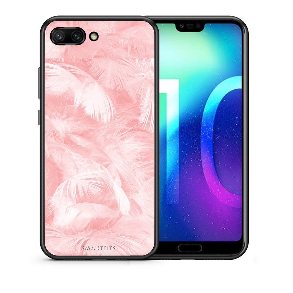 33 - Huawei Honor 10 Pink Feather Boho case, cover, bumper