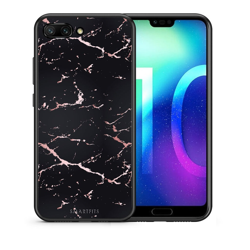 4 - Huawei Honor 10 Black Rosegold Marble case, cover, bumper