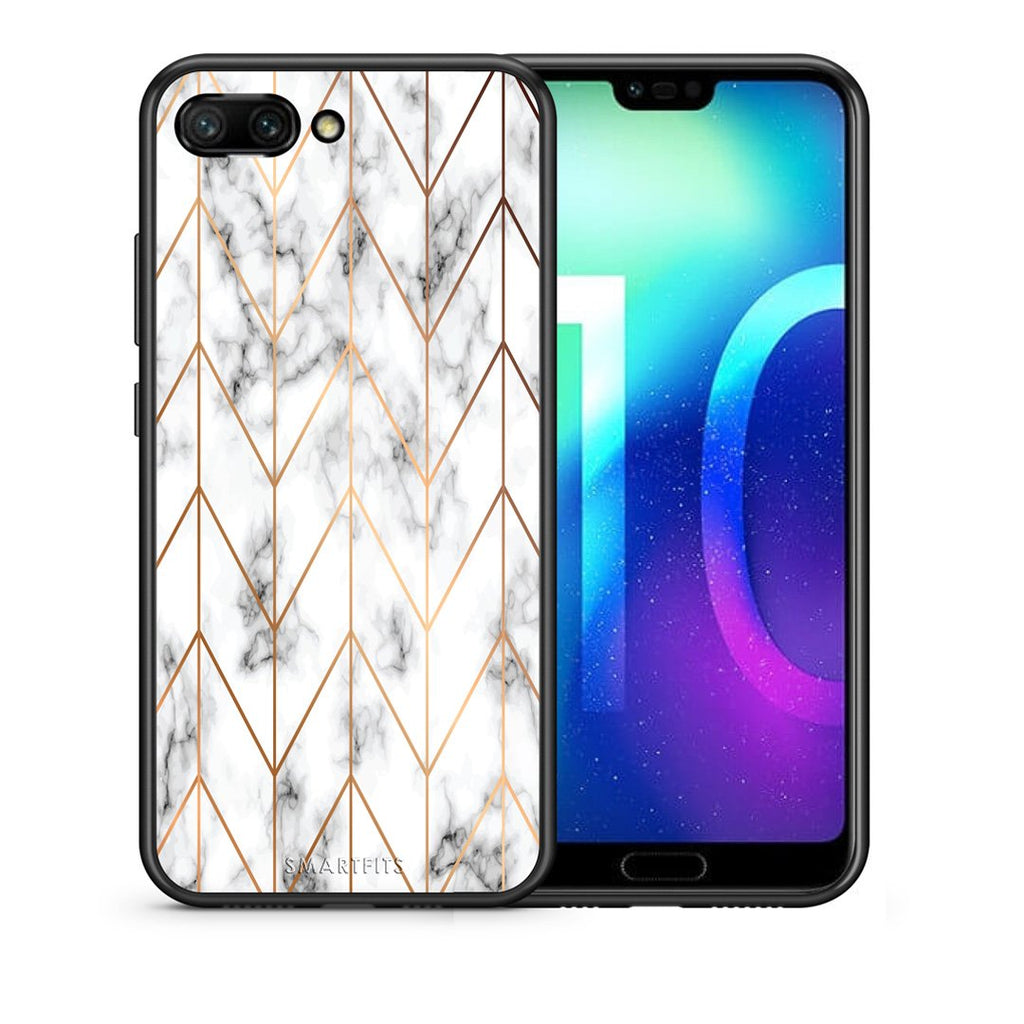 44 - Huawei Honor 10 Gold Geometric Marble case, cover, bumper