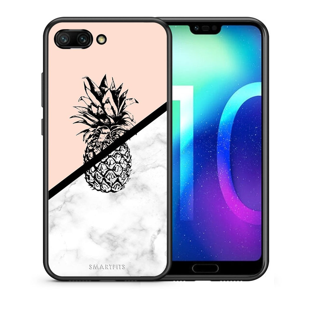 4 - Huawei Honor 10 Pineapple Marble case, cover, bumper