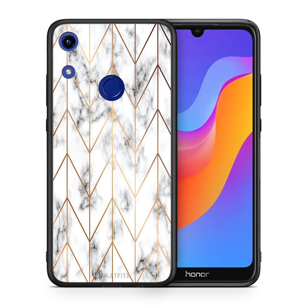44 - Huawei Honor 8A  Gold Geometric Marble case, cover, bumper
