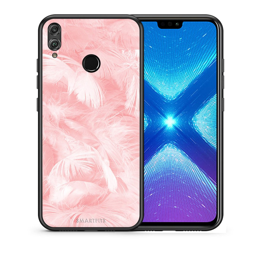 33 - Huawei Honor 8X Pink Feather Boho case, cover, bumper