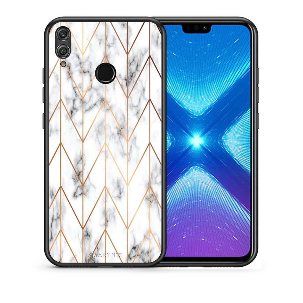 44 - Huawei Honor 8X Gold Geometric Marble case, cover, bumper