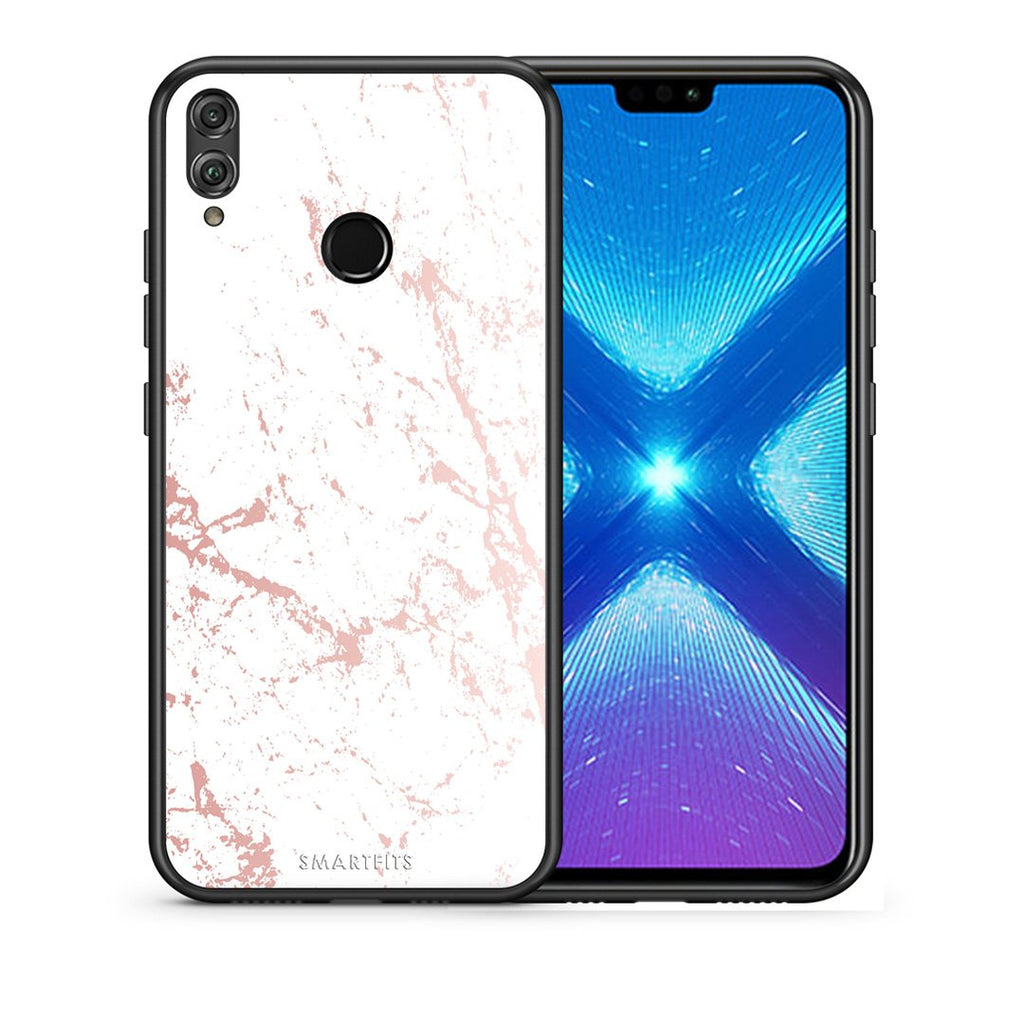 116 - Huawei Honor 8X Pink Splash Marble case, cover, bumper