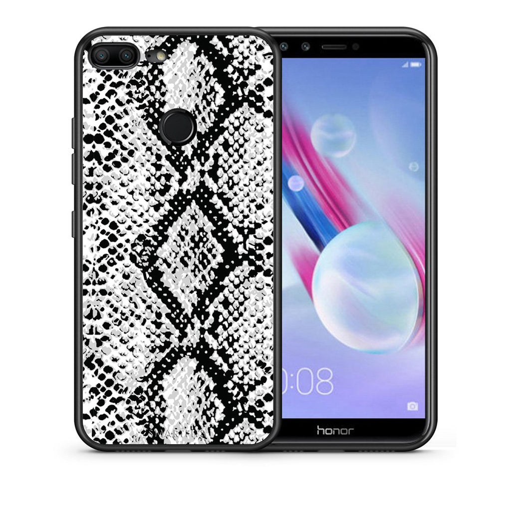 Θήκη Honor 9 Lite White Snake Animal από τη Smartfits με σχέδιο στο πίσω μέρος και μαύρο περίβλημα | Honor 9 Lite White Snake Animal case with colorful back and black bezels