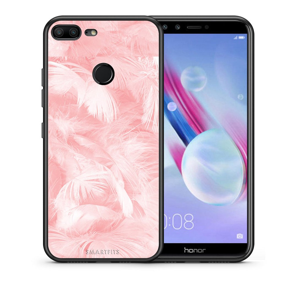 Θήκη Honor 9 Lite Pink Feather Boho από τη Smartfits με σχέδιο στο πίσω μέρος και μαύρο περίβλημα | Honor 9 Lite Pink Feather Boho case with colorful back and black bezels