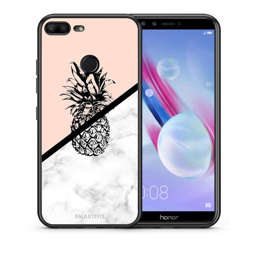 Θήκη Honor 9 Lite Pineapple Marble από τη Smartfits με σχέδιο στο πίσω μέρος και μαύρο περίβλημα | Honor 9 Lite Pineapple Marble case with colorful back and black bezels