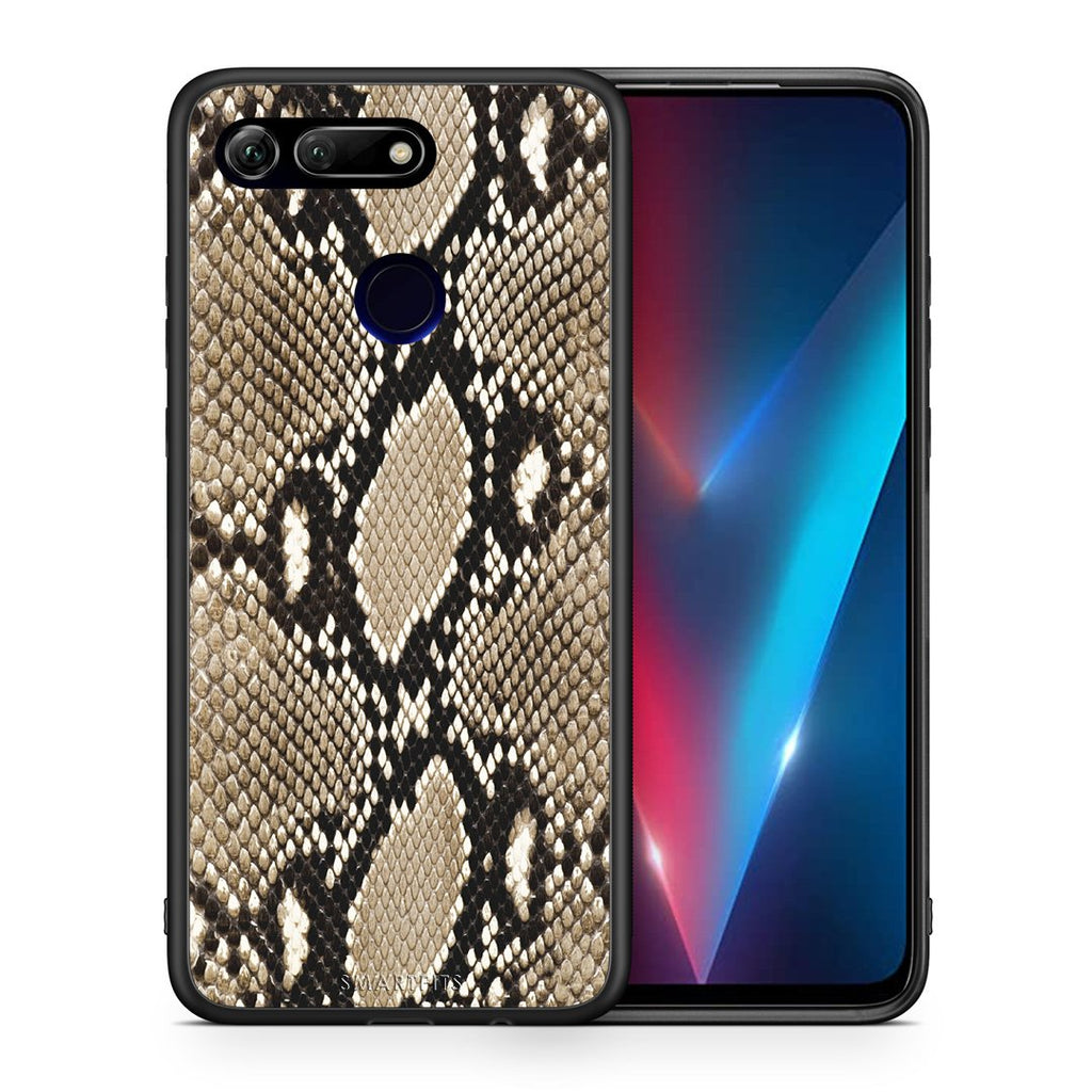 Θήκη Honor View 20 Fashion Snake Animal από τη Smartfits με σχέδιο στο πίσω μέρος και μαύρο περίβλημα | Honor View 20 Fashion Snake Animal case with colorful back and black bezels