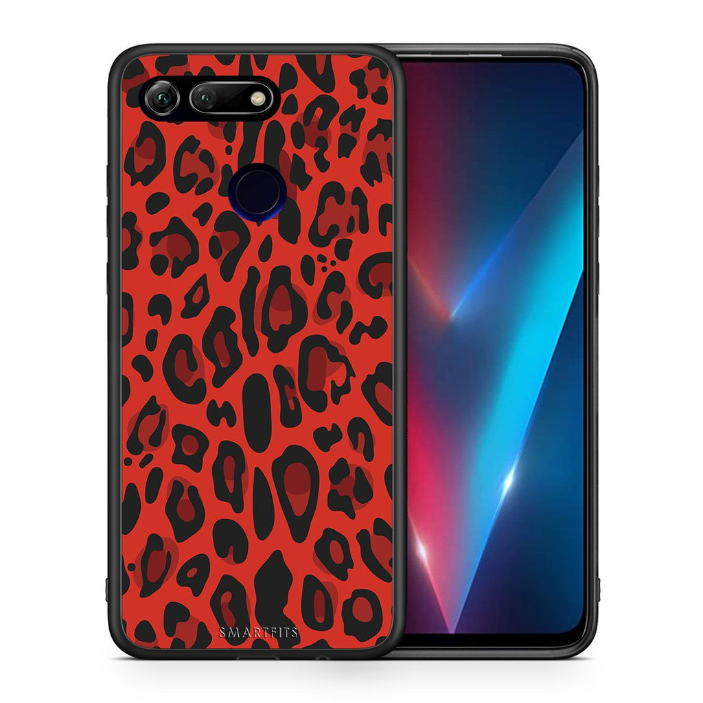 Θήκη Honor View 20 Red Leopard Animal από τη Smartfits με σχέδιο στο πίσω μέρος και μαύρο περίβλημα | Honor View 20 Red Leopard Animal case with colorful back and black bezels