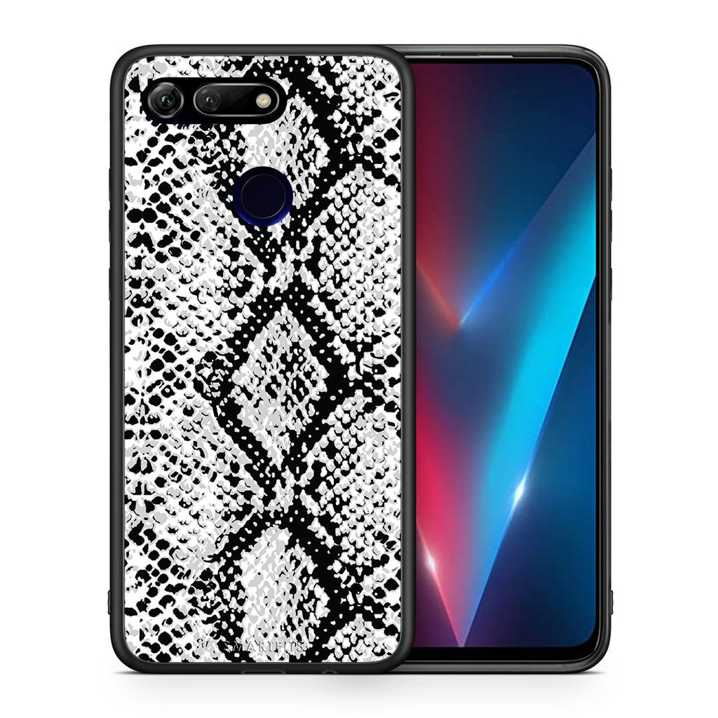 Θήκη Honor View 20 White Snake Animal από τη Smartfits με σχέδιο στο πίσω μέρος και μαύρο περίβλημα | Honor View 20 White Snake Animal case with colorful back and black bezels