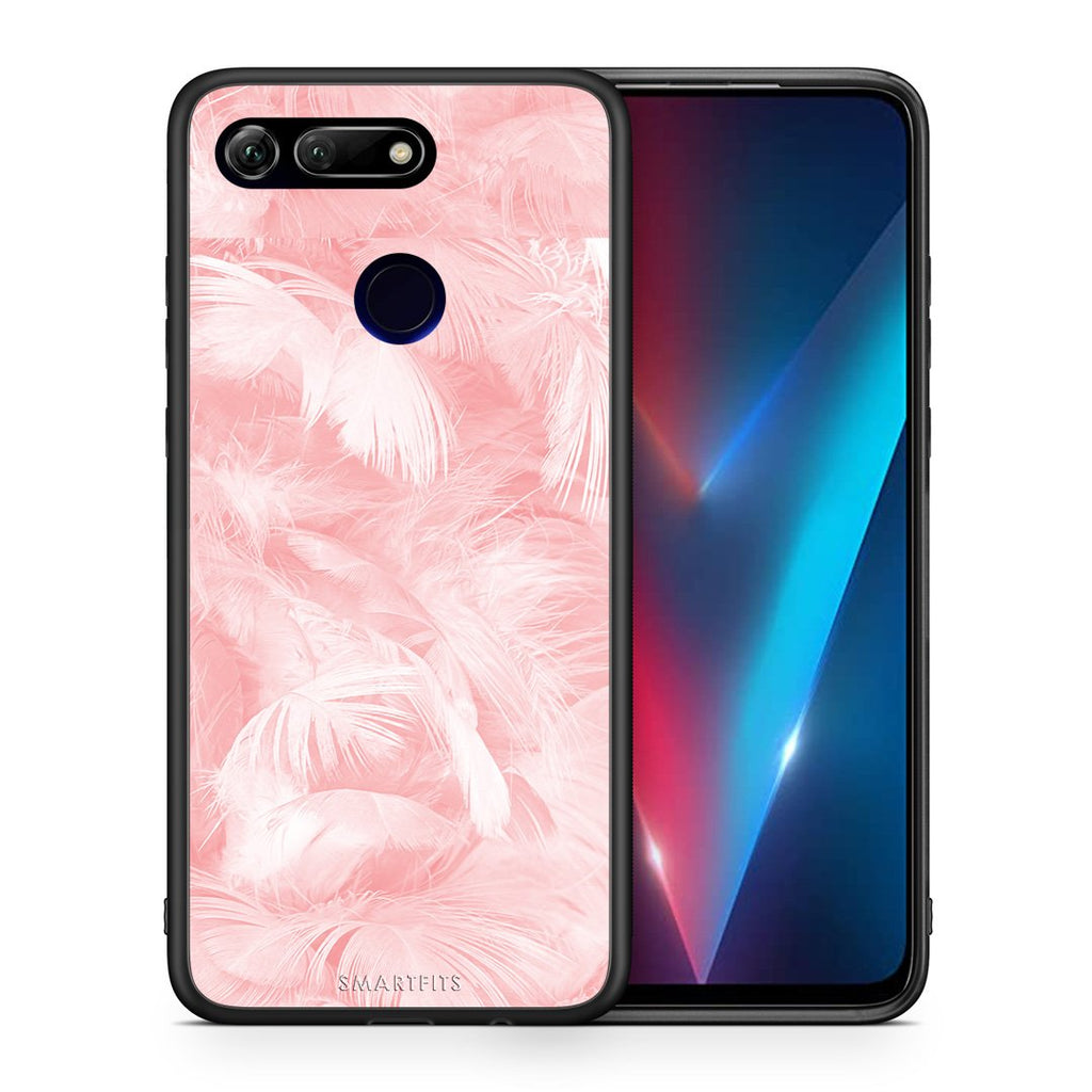 Θήκη Honor View 20 Pink Feather Boho από τη Smartfits με σχέδιο στο πίσω μέρος και μαύρο περίβλημα | Honor View 20 Pink Feather Boho case with colorful back and black bezels