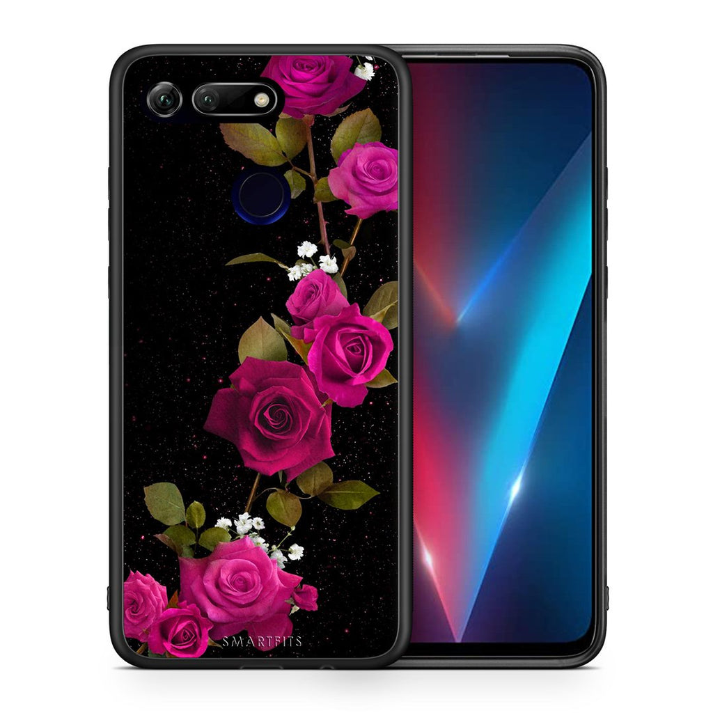 Θήκη Honor View 20 Red Roses Flower από τη Smartfits με σχέδιο στο πίσω μέρος και μαύρο περίβλημα | Honor View 20 Red Roses Flower case with colorful back and black bezels
