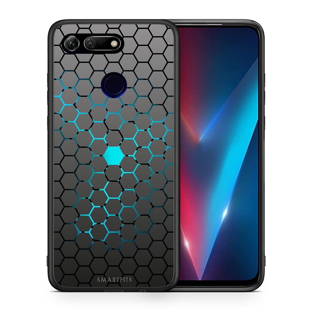 Θήκη Honor View 20 Hexagonal Geometric από τη Smartfits με σχέδιο στο πίσω μέρος και μαύρο περίβλημα | Honor View 20 Hexagonal Geometric case with colorful back and black bezels