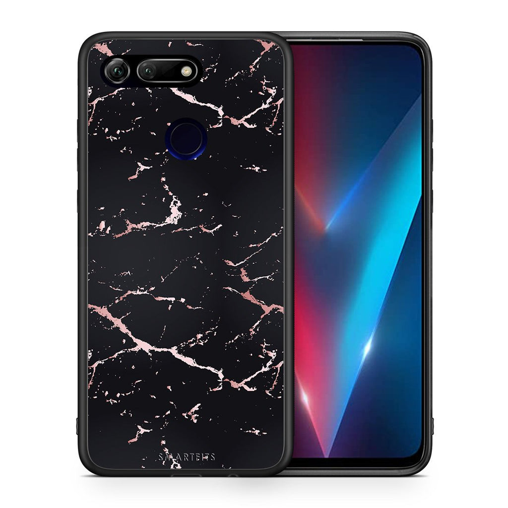 Θήκη Honor View 20 Black Rosegold Marble από τη Smartfits με σχέδιο στο πίσω μέρος και μαύρο περίβλημα | Honor View 20 Black Rosegold Marble case with colorful back and black bezels