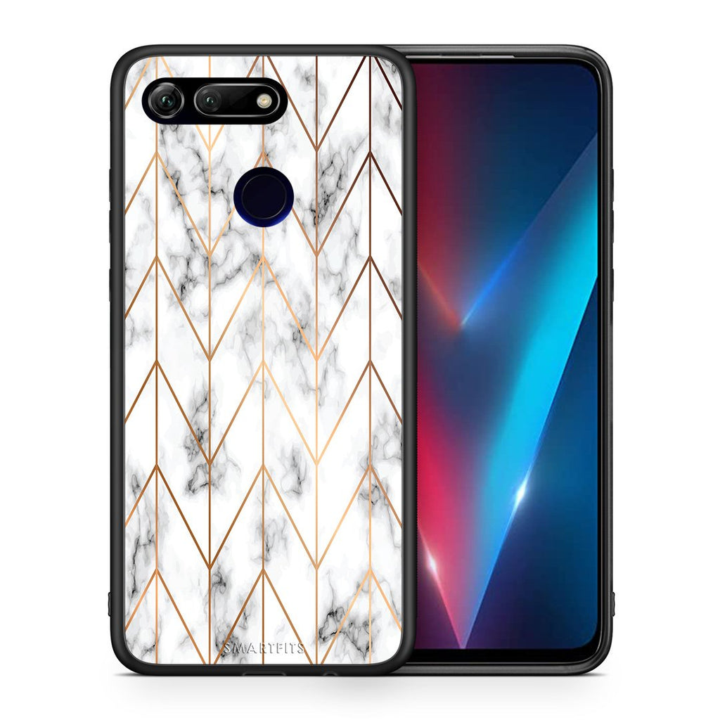 Θήκη Honor View 20 Gold Geometric Marble από τη Smartfits με σχέδιο στο πίσω μέρος και μαύρο περίβλημα | Honor View 20 Gold Geometric Marble case with colorful back and black bezels