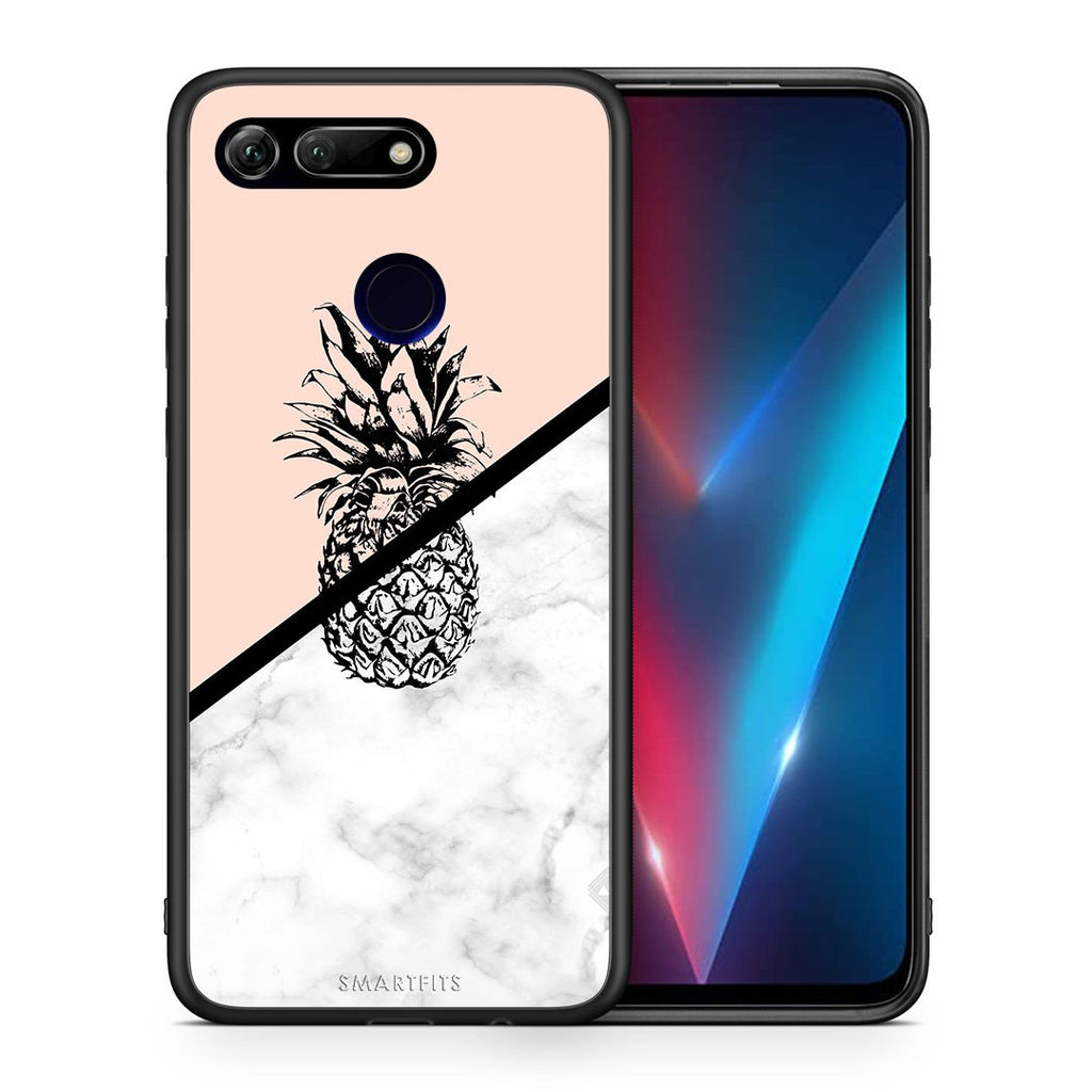 Θήκη Honor View 20 Pineapple Marble από τη Smartfits με σχέδιο στο πίσω μέρος και μαύρο περίβλημα | Honor View 20 Pineapple Marble case with colorful back and black bezels