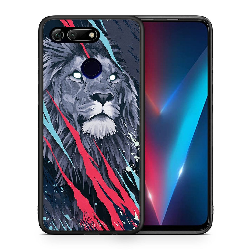 Θήκη Honor View 20 Lion Designer PopArt από τη Smartfits με σχέδιο στο πίσω μέρος και μαύρο περίβλημα | Honor View 20 Lion Designer PopArt case with colorful back and black bezels