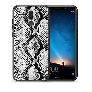 Θήκη Huawei Mate 10 Lite White Snake Animal από τη Smartfits με σχέδιο στο πίσω μέρος και μαύρο περίβλημα | Huawei Mate 10 Lite White Snake Animal case with colorful back and black bezels