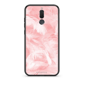 33 - huawei mate 10 lite Pink Feather Boho case, cover, bumper
