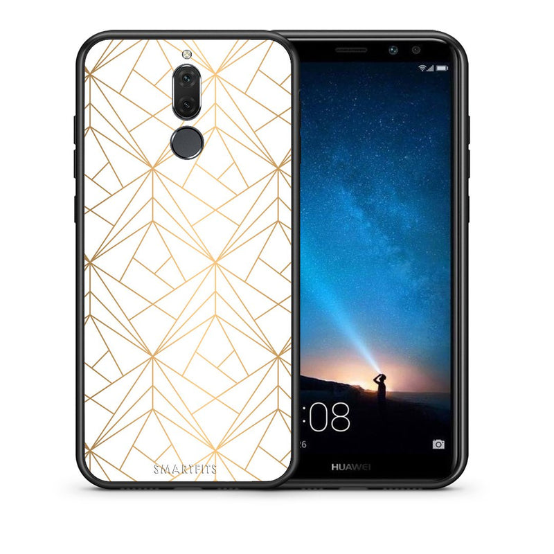 111 - huawei mate 10 lite Luxury White Geometric case, cover, bumper