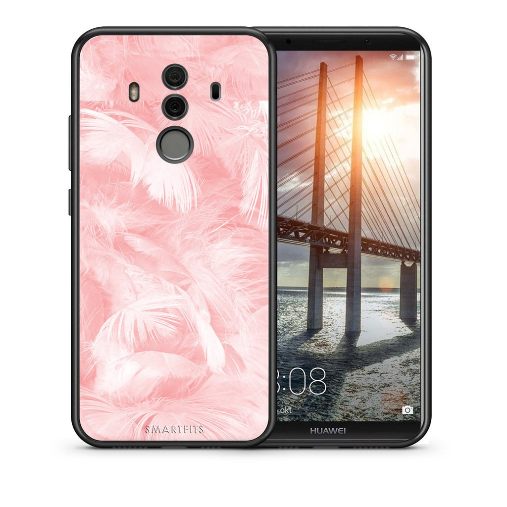 Θήκη Huawei Mate 10 Pro Pink Feather Boho από τη Smartfits με σχέδιο στο πίσω μέρος και μαύρο περίβλημα | Huawei Mate 10 Pro Pink Feather Boho case with colorful back and black bezels