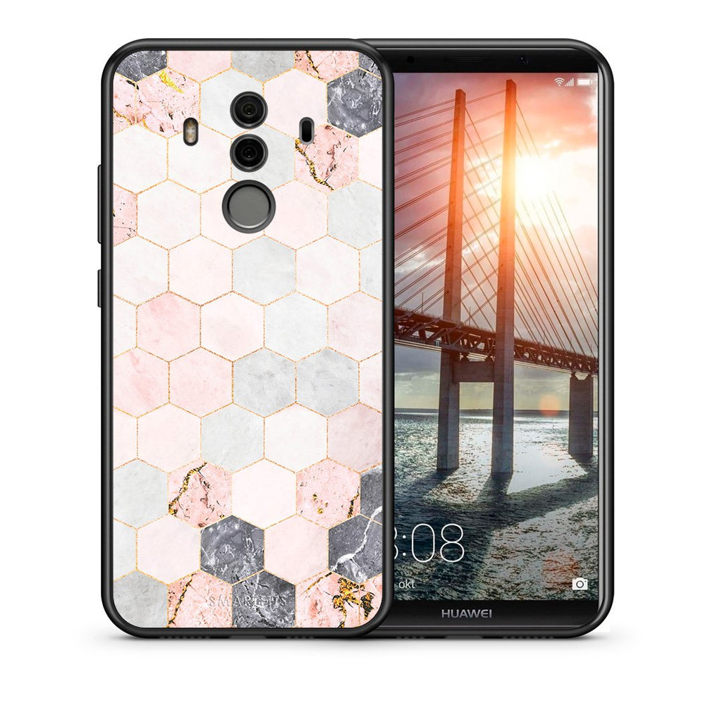 Θήκη Huawei Mate 10 Pro Hexagon Pink Marble από τη Smartfits με σχέδιο στο πίσω μέρος και μαύρο περίβλημα | Huawei Mate 10 Pro Hexagon Pink Marble case with colorful back and black bezels