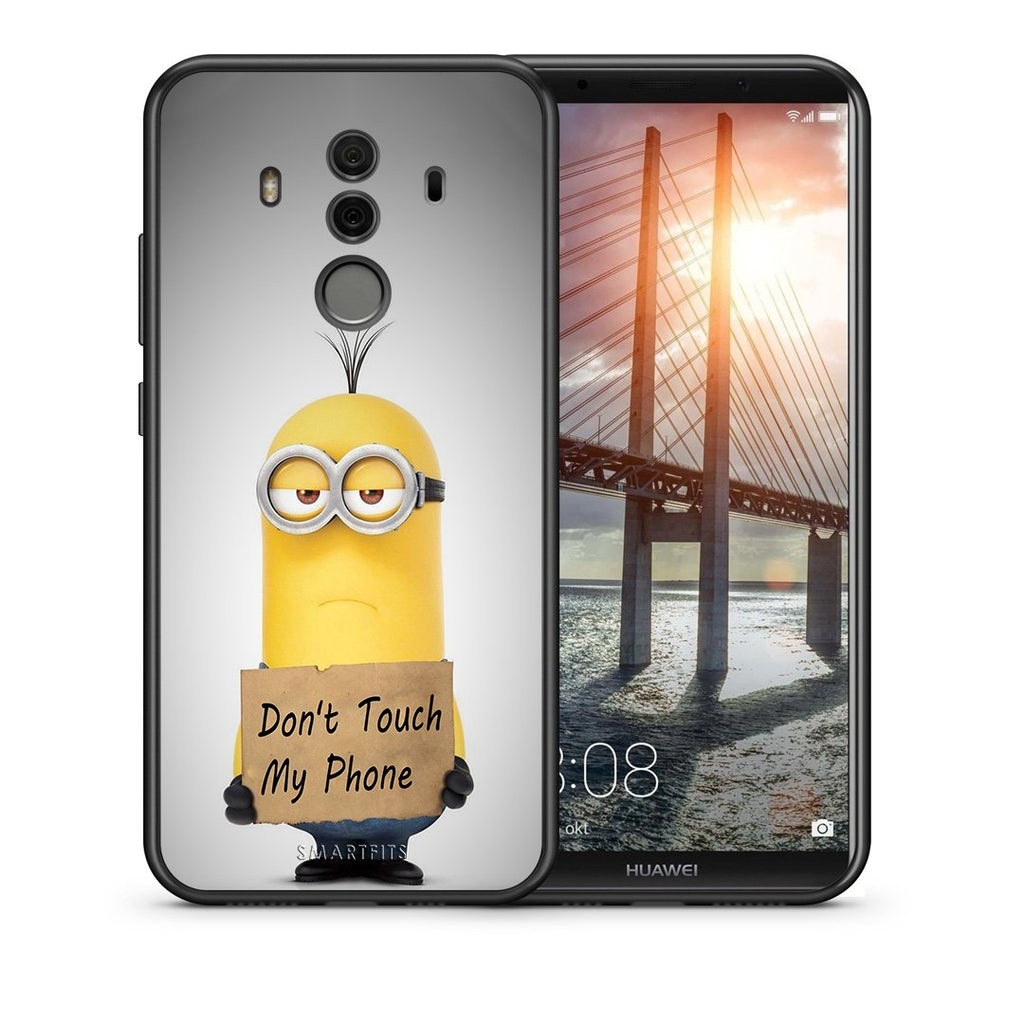 Θήκη Huawei Mate 10 Pro Minion Text από τη Smartfits με σχέδιο στο πίσω μέρος και μαύρο περίβλημα | Huawei Mate 10 Pro Minion Text case with colorful back and black bezels
