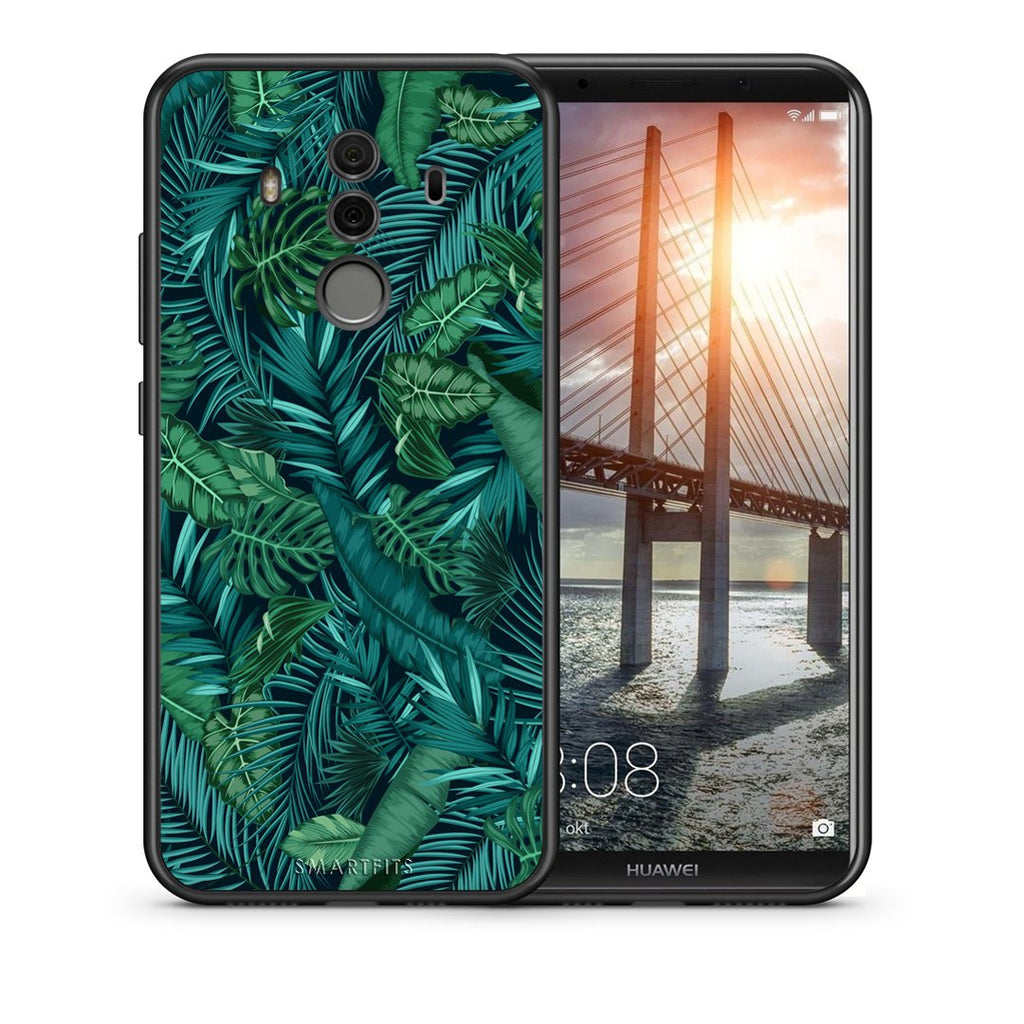 Θήκη Huawei Mate 10 Pro Leaves Tropic από τη Smartfits με σχέδιο στο πίσω μέρος και μαύρο περίβλημα | Huawei Mate 10 Pro Leaves Tropic case with colorful back and black bezels