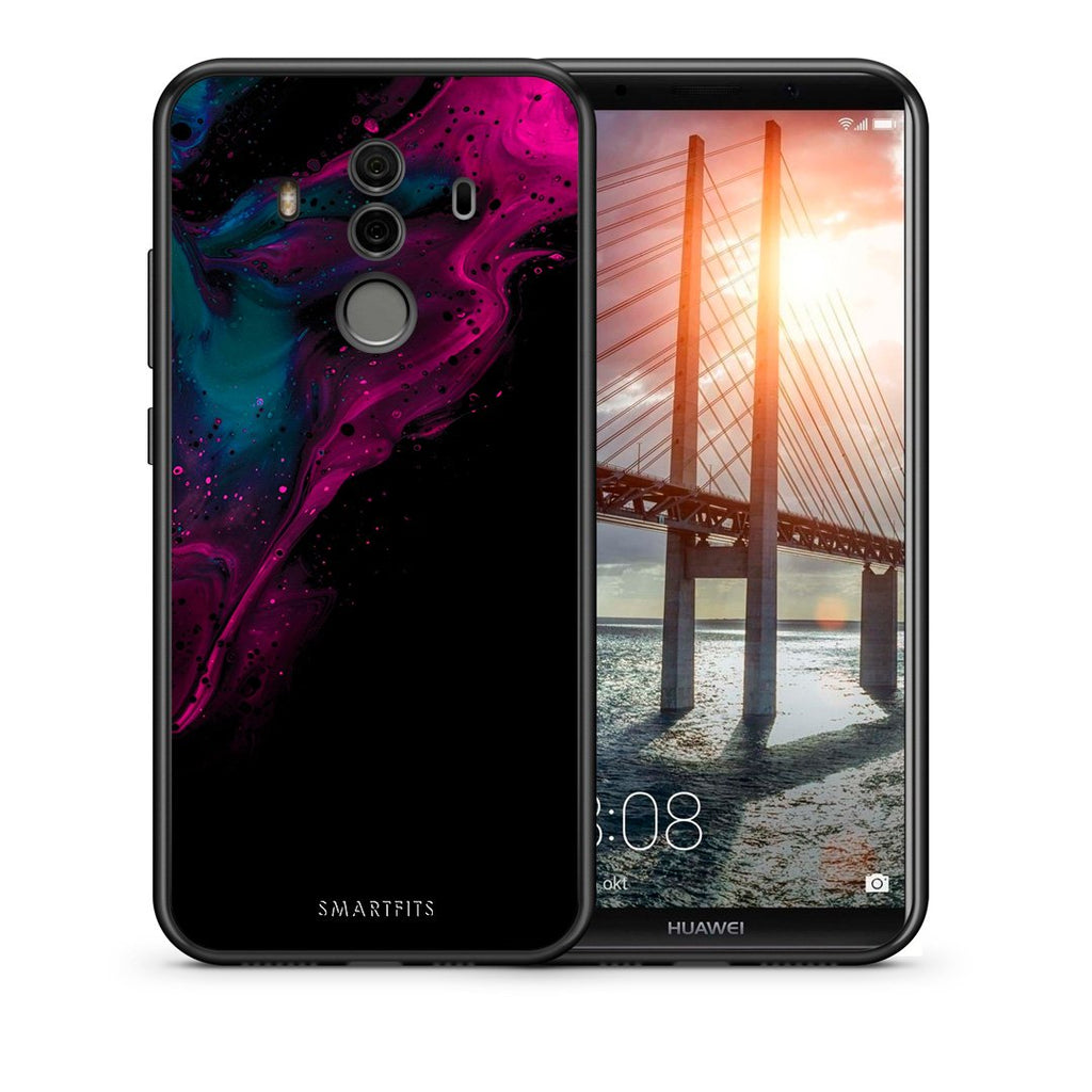 Θήκη Huawei Mate 10 Pro Pink Black Watercolor από τη Smartfits με σχέδιο στο πίσω μέρος και μαύρο περίβλημα | Huawei Mate 10 Pro Pink Black Watercolor case with colorful back and black bezels