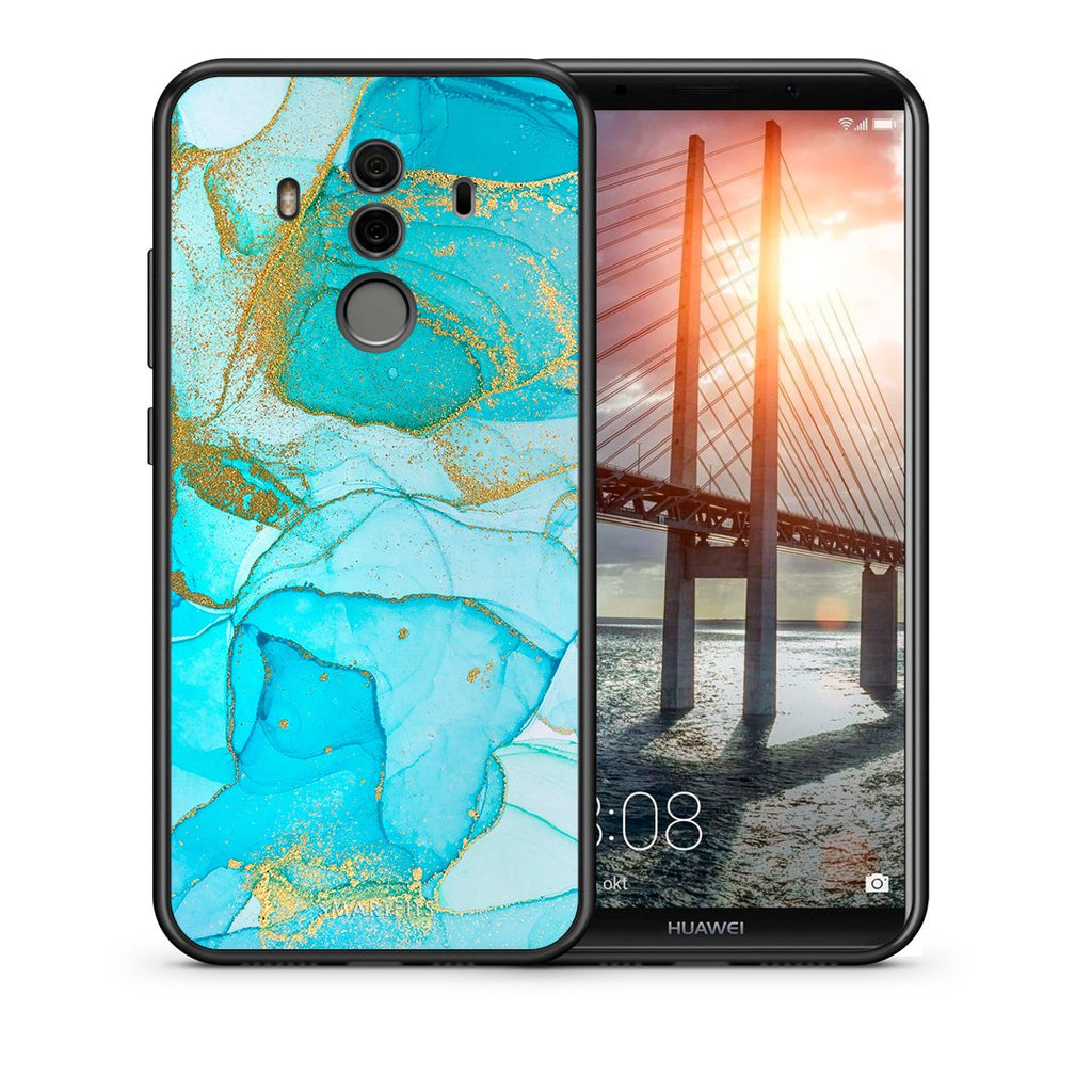 Θήκη Huawei Mate 10 Pro Turquoise Gold Watercolor από τη Smartfits με σχέδιο στο πίσω μέρος και μαύρο περίβλημα | Huawei Mate 10 Pro Turquoise Gold Watercolor case with colorful back and black bezels