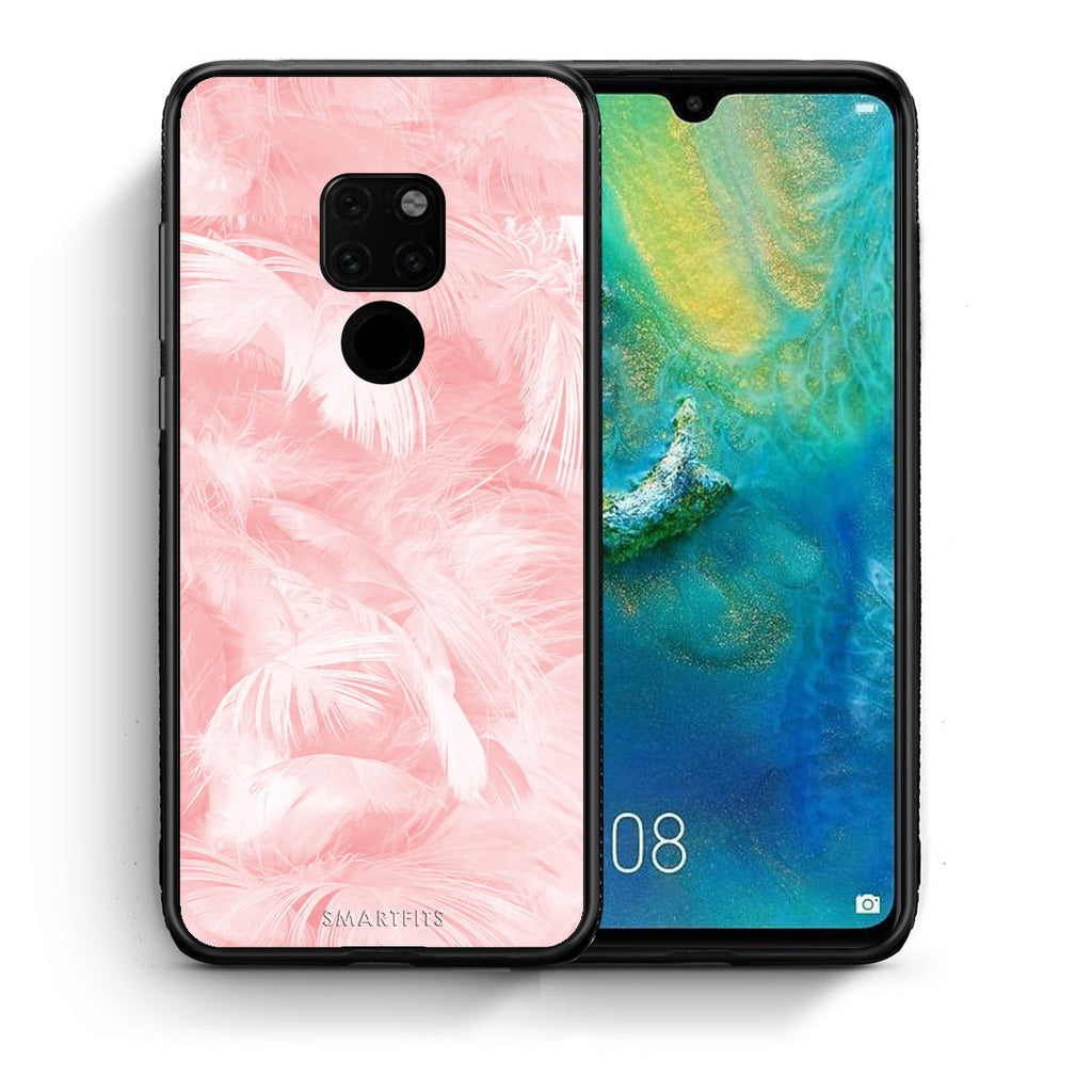 Θήκη Huawei Mate 20 Pink Feather Boho από τη Smartfits με σχέδιο στο πίσω μέρος και μαύρο περίβλημα | Huawei Mate 20 Pink Feather Boho case with colorful back and black bezels