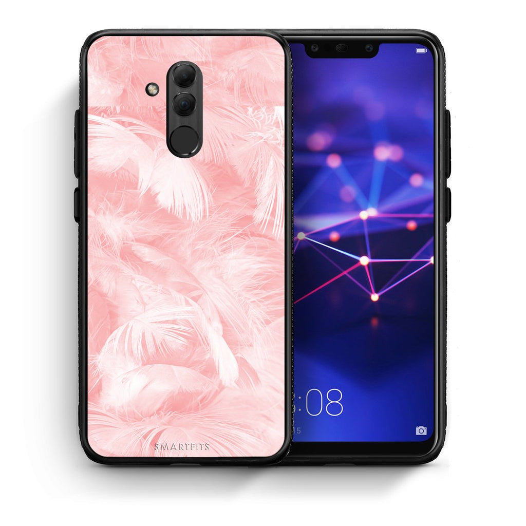 33 - Huawei Mate 20 Lite  Pink Feather Boho case, cover, bumper