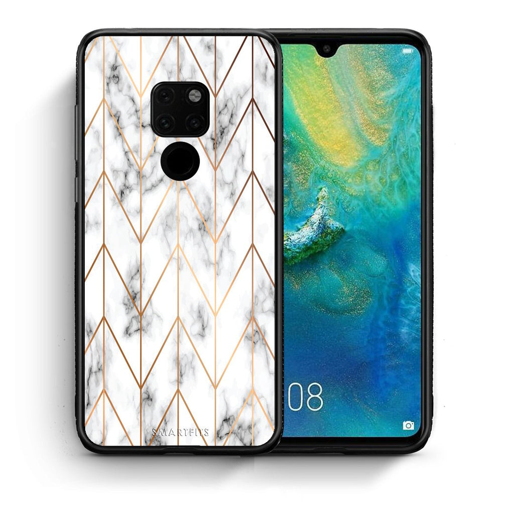Θήκη Huawei Mate 20 Gold Geometric Marble από τη Smartfits με σχέδιο στο πίσω μέρος και μαύρο περίβλημα | Huawei Mate 20 Gold Geometric Marble case with colorful back and black bezels