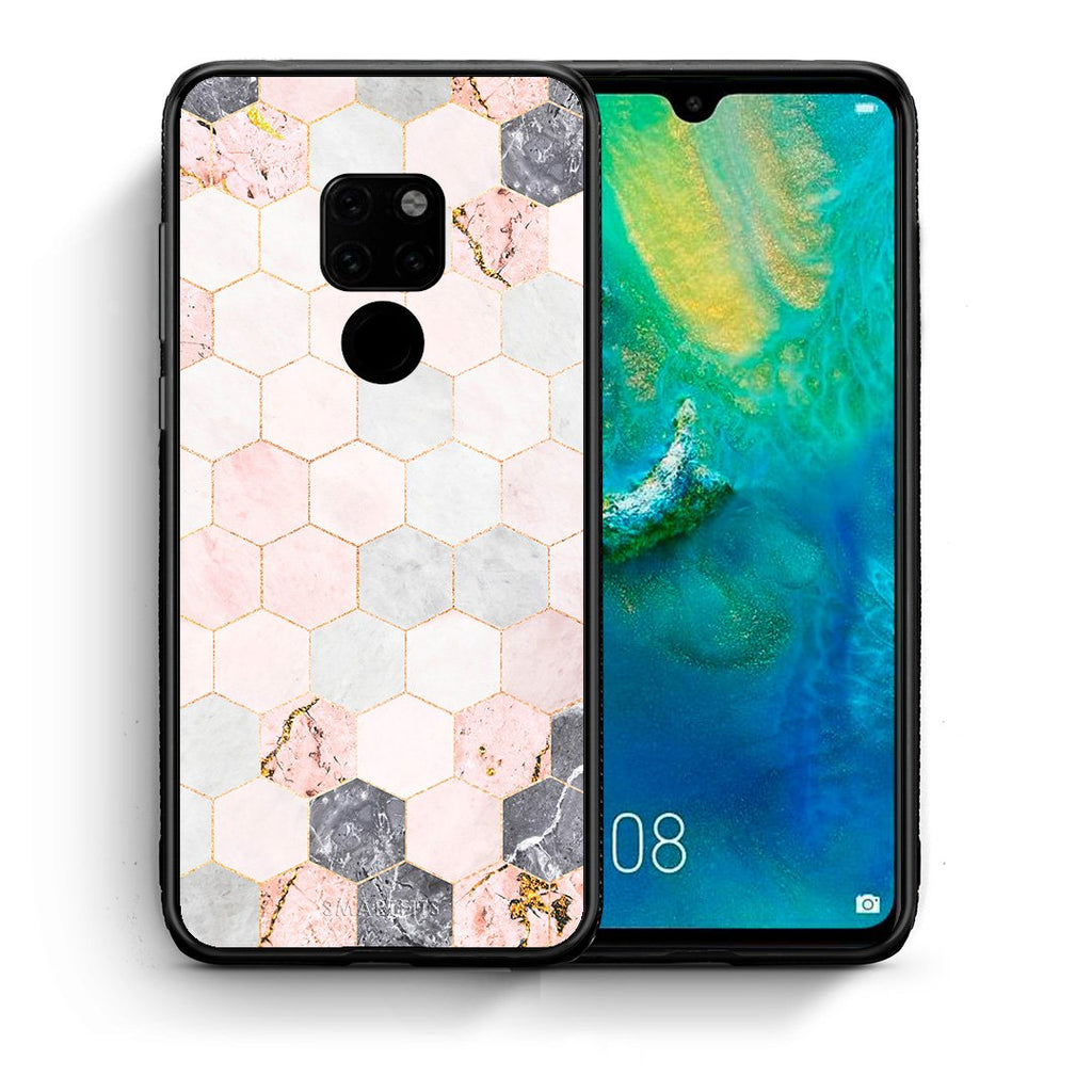 Θήκη Huawei Mate 20 Hexagon Pink Marble από τη Smartfits με σχέδιο στο πίσω μέρος και μαύρο περίβλημα | Huawei Mate 20 Hexagon Pink Marble case with colorful back and black bezels