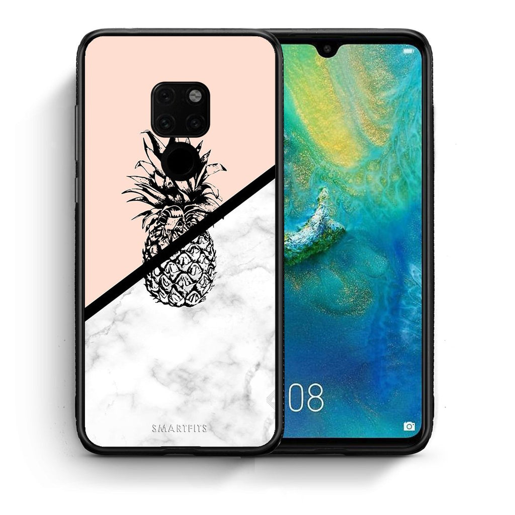 Θήκη Huawei Mate 20 Pineapple Marble από τη Smartfits με σχέδιο στο πίσω μέρος και μαύρο περίβλημα | Huawei Mate 20 Pineapple Marble case with colorful back and black bezels