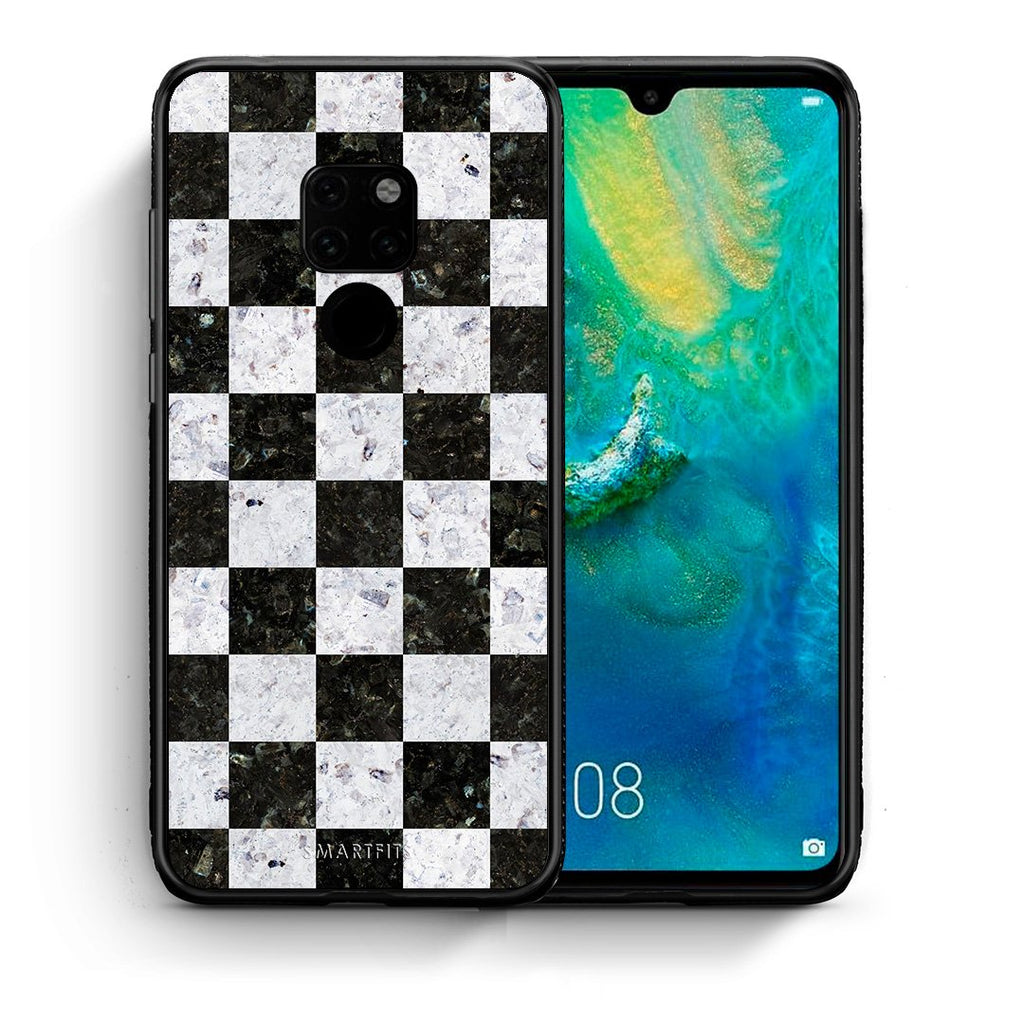 Θήκη Huawei Mate 20 Square Geometric Marble από τη Smartfits με σχέδιο στο πίσω μέρος και μαύρο περίβλημα | Huawei Mate 20 Square Geometric Marble case with colorful back and black bezels