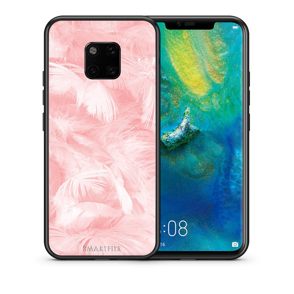 33 - Huawei Mate 20 Pro  Pink Feather Boho case, cover, bumper