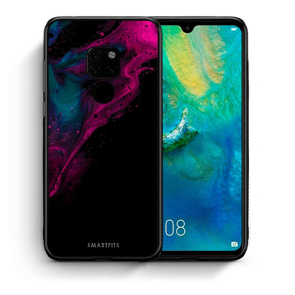 Θήκη Huawei Mate 20 Pink Black Watercolor από τη Smartfits με σχέδιο στο πίσω μέρος και μαύρο περίβλημα | Huawei Mate 20 Pink Black Watercolor case with colorful back and black bezels