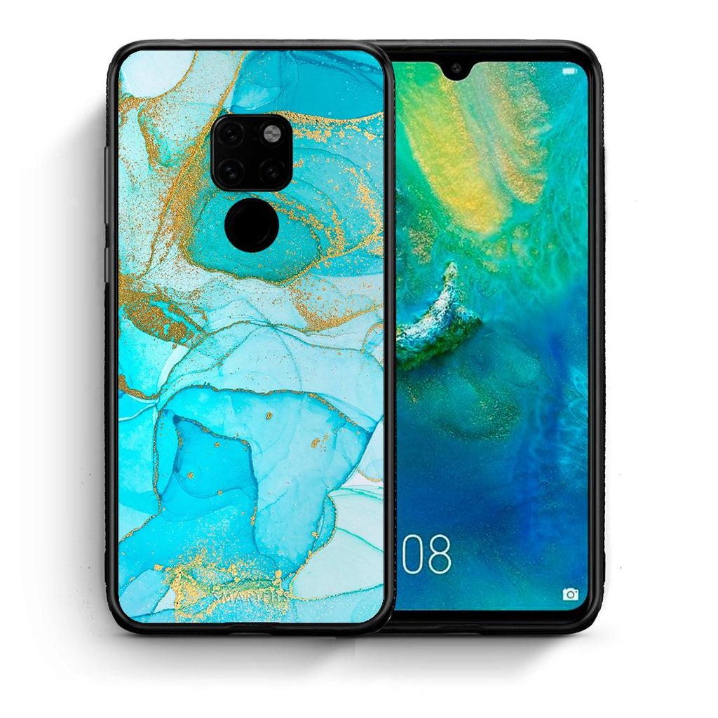 Θήκη Huawei Mate 20 Turquoise Gold Watercolor από τη Smartfits με σχέδιο στο πίσω μέρος και μαύρο περίβλημα | Huawei Mate 20 Turquoise Gold Watercolor case with colorful back and black bezels