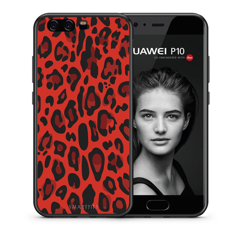 4 - huawei p10 Red Leopard Animal case, cover, bumper
