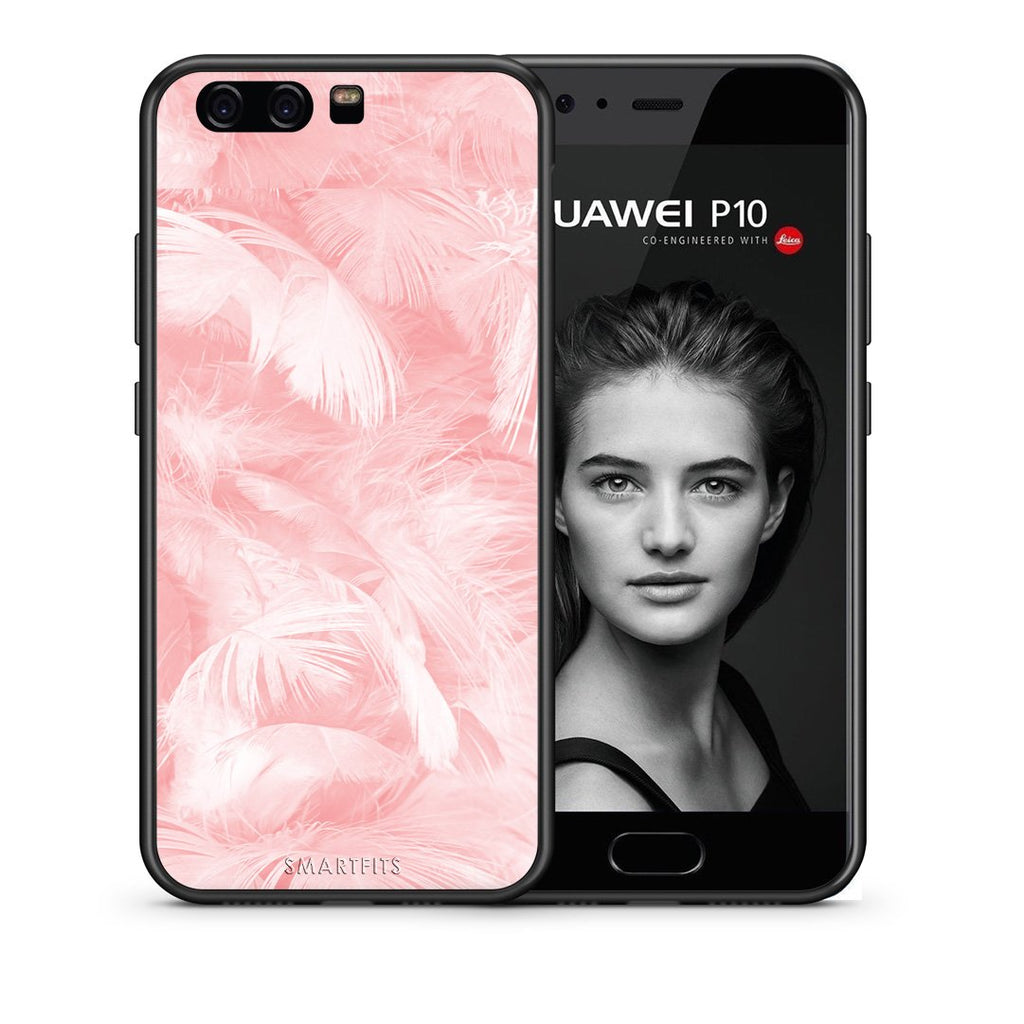 33 - huawei p10 Pink Feather Boho case, cover, bumper